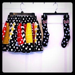 Minnie Mouse Twirl Skirt & Knee Socks girls size 6